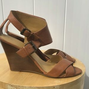 Nine West 12 camel leather strapped comfort wedge